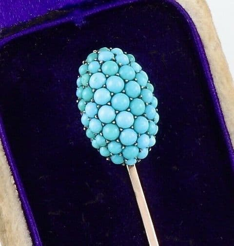 Antique Georgian 9Ct Gold And Turquoise Stick / Tie Pin